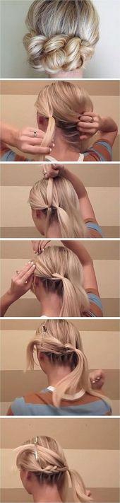 Tirez sur tresse Coiffures de mariage bricolage pour les cheveux moyens Simple mariage nuptiale …   – Tout