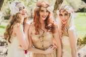 Boho, gypsy, wedding, bridesmaid makeup and hair, long hair, beachy, gold dress,…