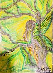 Grüne Fee Fairy Absinth Absynthe by N-J.K Bild Zeichnung Öl Kreide