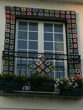 Vila Nova De Cerveira Portugal Crochê Janelas Feito A Mão