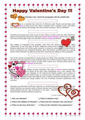 History Of Valentine S Day Printable Worksheets