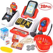 Victostar Toy Cash Register with Checkout Scanner,Fruit Card Reader, Credit Card Machine, Play Money and Food Shopping Play Set for Kids (Red) – Toys