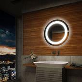 Unique ECO Rund Badspiegel LED Beleuchtung Wandspiegel Badezimmerspiegel Lichtspiegel in M bel u Wohnen Badzubeh r u