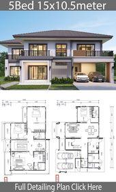 Hausplan 15,5×10,5m mit 5 Schlafzimmern