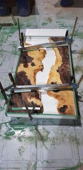 Blue River Tischplatte mit Epoxy Inlay Senna Siamea Holz, Epoxy Tisch, Harz Tisch, Kaffeetisc…  – Epoxy Crafts