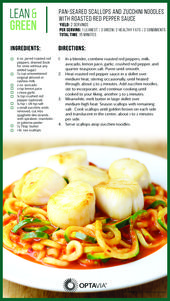 Pan Seared Scallops & Zucchini Noodles with Roasted Red Pepper Sauce