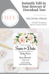 Pink Plum Greenery 545-A Purple Blush Editable Save the Date Boho Floral Frame Printable Save the Date DIY Template Instant Download
