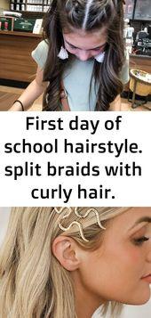 Erster Schultag Frisur. gespaltene Zöpfe mit lockigem Haar.