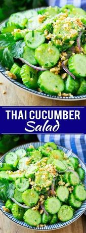 Thai Cucumber Salad | Easy Cucumber Salad | Thai Food | Healthy Salad Minus suga… – Fitness-Salate (gesund, vegan)