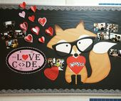 Coding bulletin board Fox valentine's day code.org