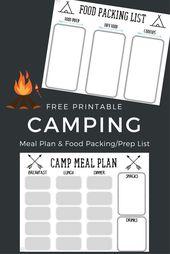 Camping imprimable gratuit Liste des aliments + Plan du menu   – Campen