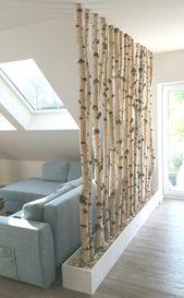 Birch trunks like room divider #Living room