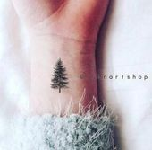 4pcs Tiny Pine tree tattoo christmas gift small – InknArt Temporary Tattoo – set wrist quote tattoo body sticker fake tattoo wedding tattoo small from…