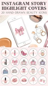 Instagram Story Highlight Covers – Pink Make Up Beauty Icons