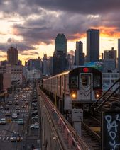 New York City Subway at Sunset – 7 Train in Queens – NYC Skyline from Queens – New York City Photography