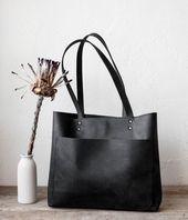 Schwarze Leder-Einkaufstasche Medium No. LPB-70166