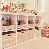 25 + › Pillowfort-Holzbehälter von Target + IKEA Kallax-Regale = gute Aufbewahrung – – – I w … – Kinderspielzeug diy