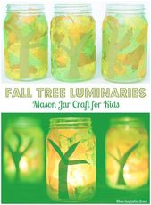 Mason Jar Fall Tree Luminaries  Where Imagination Grows #doodling #Driftwoodcraf… – Diy and Crafts