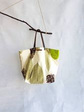 Photo of Fabric bag, handmade bags, shoulder bag, women's bag, fancy bag, summer bag, beach bag, bag with leaves, tote bag