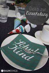 Dekoration für die Einschulung, Tischdekoration und Bastelideen für den Schulanfang und die Einschulung …   – DIY – Einschulung