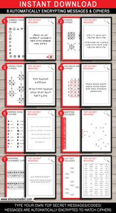 Spy Party Games – Secret Agent Party – 8 Secret Codes and Ciphers – INSTANT DOWNLOAD with EDITABLE text – you personalize at home