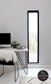 Photo of Abstract line ornament pattern, grey and white wallpaper, geometric, scandinavian style, reusable wall mural #100