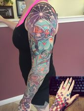 Space Lady Sleeve By Teresa Sharpe At Studio 13 In Fort Wayne Indiana Sleeve Tattoos Art Clothes Funny Tattoos