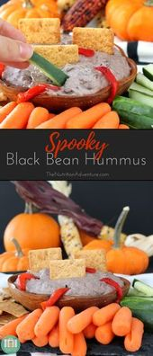 Spooky Black Bean Hummus is a quick protein-packed dip thats perfect for Hallowe…