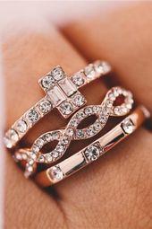 3Pcs/Set Engagement Rings