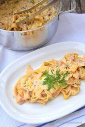 One Pot Pasta – Variation mit Zucchini, Schinken und getrockneten Tomaten – One Pot