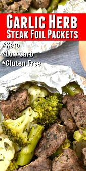 Keto Garlic Herb Steak Foil Packets