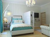 Современный интерьер спальни  – Зонирование