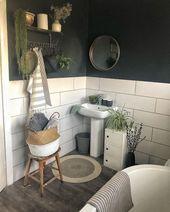 Badezimmer, weiße Fliesen, Anthrazit, Pflanzen, K… – #Anthrazit #Badezimmer #…