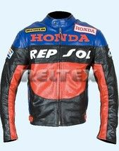 Three Tone Repsol Gas Honda Racing Motorcycle Leather Jacket Vintage New Style Lead Style Vintage Leather Jacket Leather Jacket Jackets