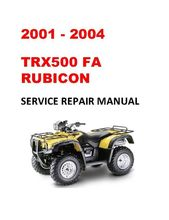 2001 2004 Trx500fa Rubicon Repair Service Manual In 2021 Repair Honda Service Manual