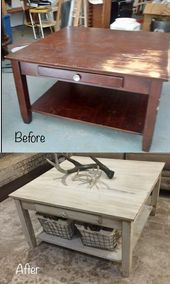 Thrift shop coffee table makeover with chalk color in a farmhouse style