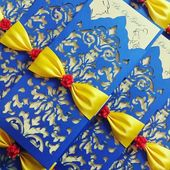 Laser Cut Gold And Royal Blue Beaty And The Beast Invitations
