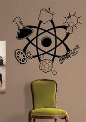 Science Atom Design Decal Sticker Wall Vinyl Art Home Room Decor Teacher School Educational Classroom
