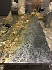 Epoxy Resin Art. Epoxy Countertops. Epoxy sample made from pewter, gray, and gol…   – Art and crafts