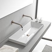 Rectangular White Ceramic Trough Drop In Sink
