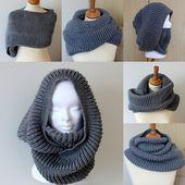 Knitting Sample Oxford Hooded Cowl  (pdf file)
