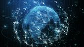 Ad: Earth Planet Hologram and Network Grid with Numbers Seamless Rotation in Cyberspace Elements. Looped 3d Animation. Futuristic Business and Technol…