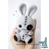 Amigurumi voodoo bunny pattern. Crochet pattern. Languages: English, Danish, German, Norwegian, Spanish, French, Swedish, Portuguese