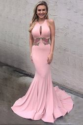 decent round neck keyhole sweep train pink mermaid prom dress with   – Prom Dresses