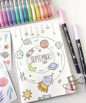 ig@studychaii's September bullet journal spread bears the whole universe
