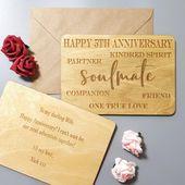 Personalised Anniversary Wood Card for Wife Husband I Boyfriend Girlfriend Card …