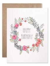 Carte d'anniversaire couronne de fleurs