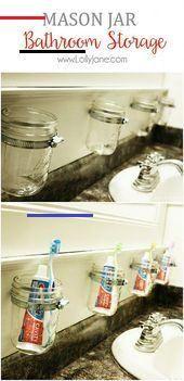 Niedlich Diy Mason Jar Ideas Pretty Bathroom Storage Fun Crafts Creative Niedlich D In 2020 Mit Bildern Weckglas Diy Hundefutterstation Selber Machen Holz
