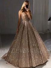 Elegante Abendkleider Langer V-Ausschnitt Mit Glitzer | Abendkleid Gold | Babyonli … – Braut-kleider