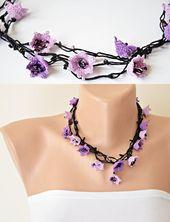 Häkeln Sie Lily Halskette, 3D Blume BeadedLariat, Frühling lange Halskette, Boho Floral Wrap Lanyard, einzigartige Blumen Schmuck, Frauen Geburtstagsgeschenk